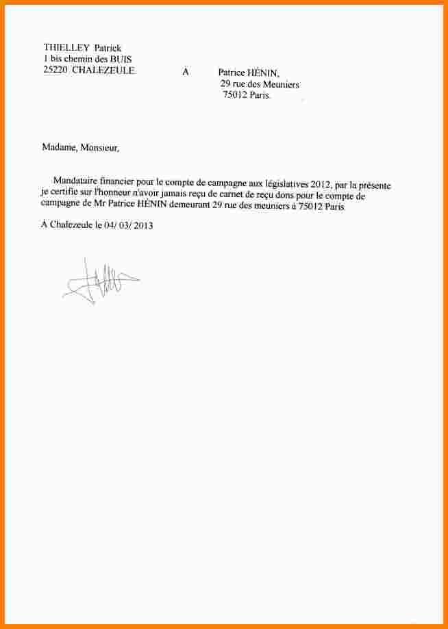 Declaration Sur L Honneur Domicile Modele De Lettre Type