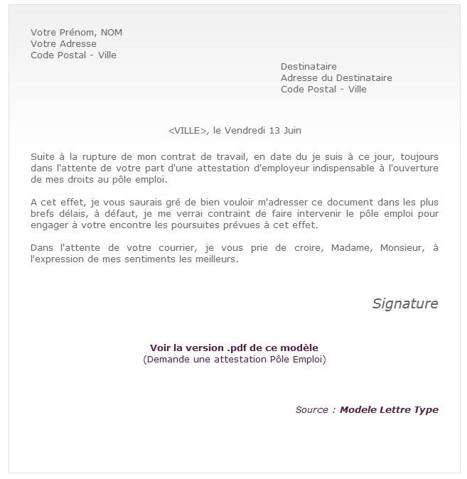 demande d'attestation d'emploi