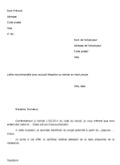 demande de conge paternite lettre