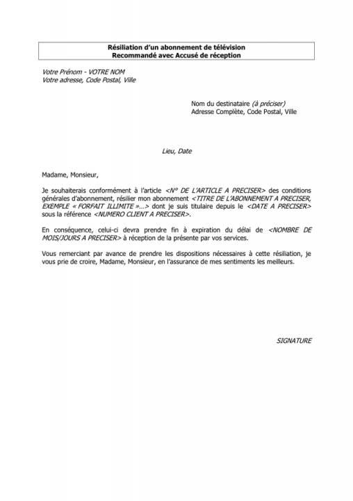 demande de resiliation d u0026 39 abonnement