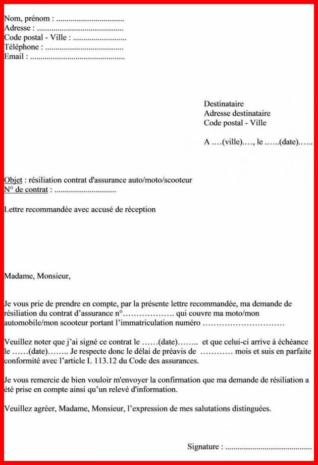 Demande De Resiliation De Contrat Assurance Auto Modele De Lettre Type