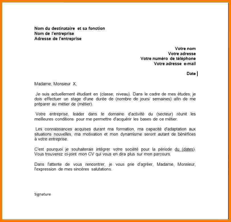Demande De Stage Au Sein D Une Banque Modele De Lettre Type