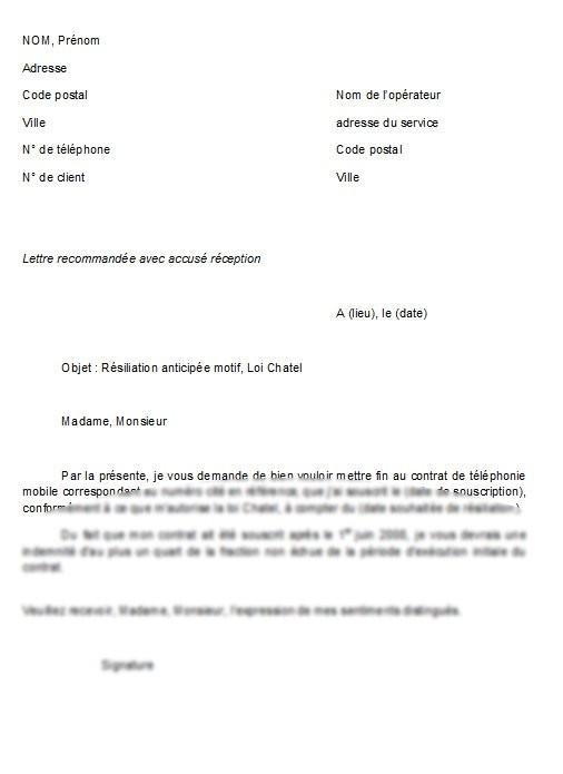 demande resiliation contrat