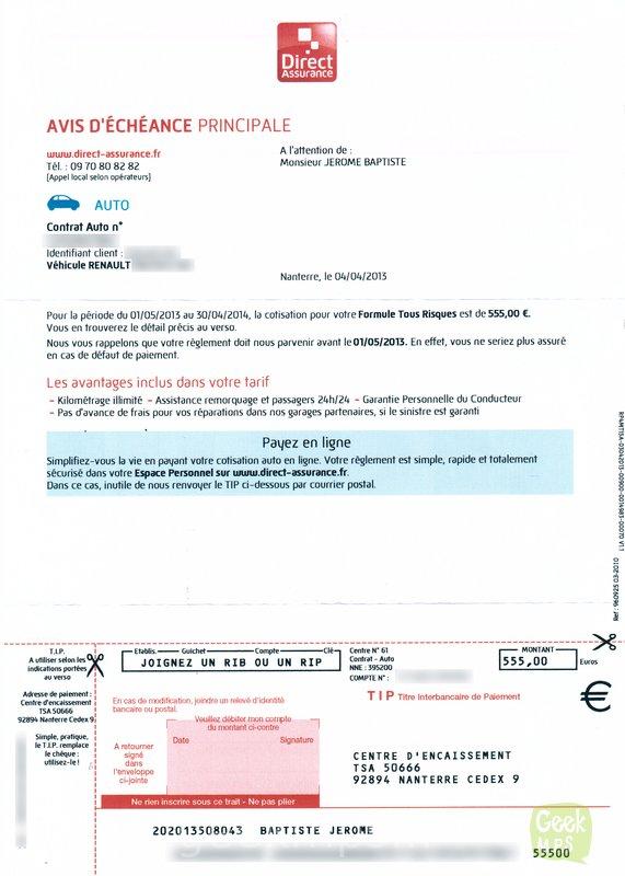 direct assurance prelevement mensuel