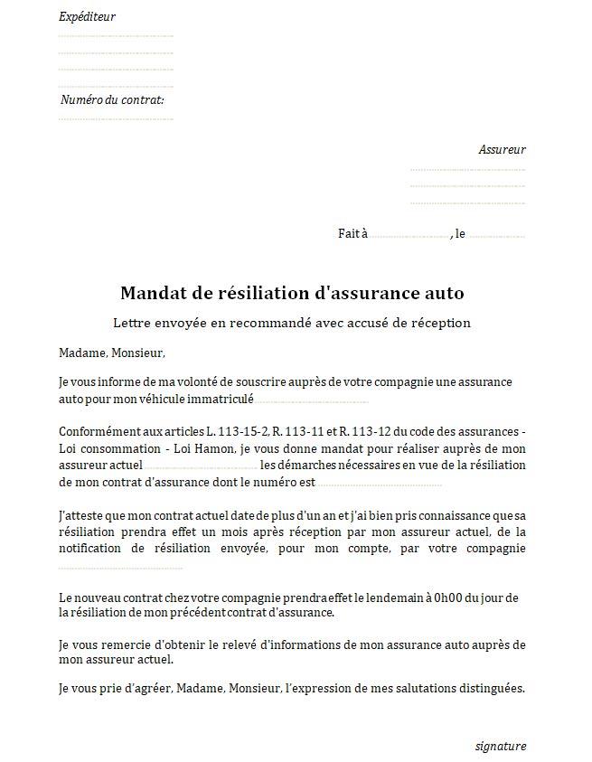 exemple de resiliation d u0026 39 assurance