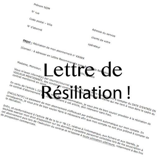 ecrire une lettre de resiliation bouygues