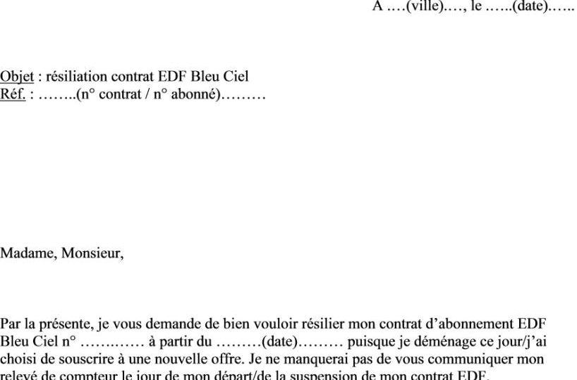 edf numero resiliation contrat