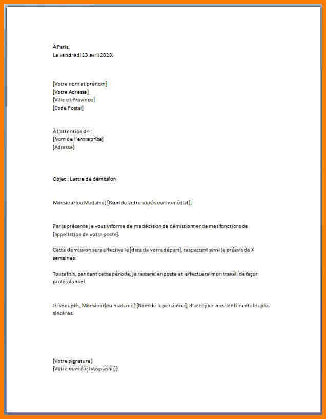 ex de lettre de demission - Modele de lettre type