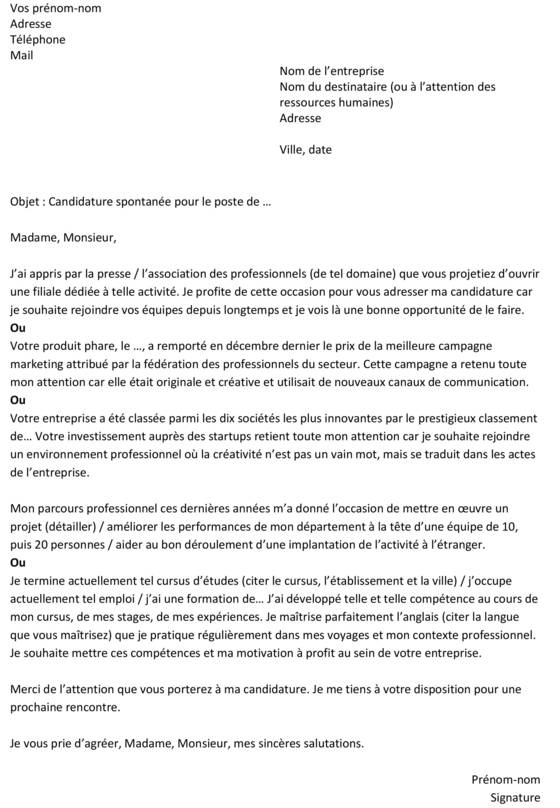 ex de lettre de motivation candidature spontanee