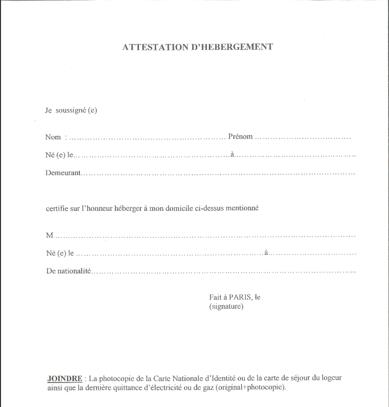 exemplaire attestation hebergement