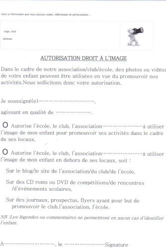 exemplaire de lettre d'autorisation parentale