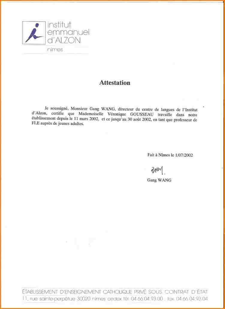 exemple attestation employeur - Modele de lettre type