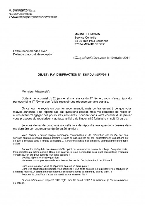 exemple contestation amende