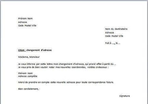 exemple courrier changement d'adresse