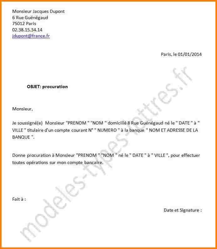 exemple courrier procuration
