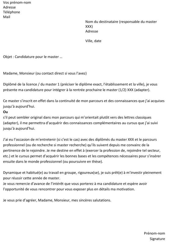 exemple cv candidature master