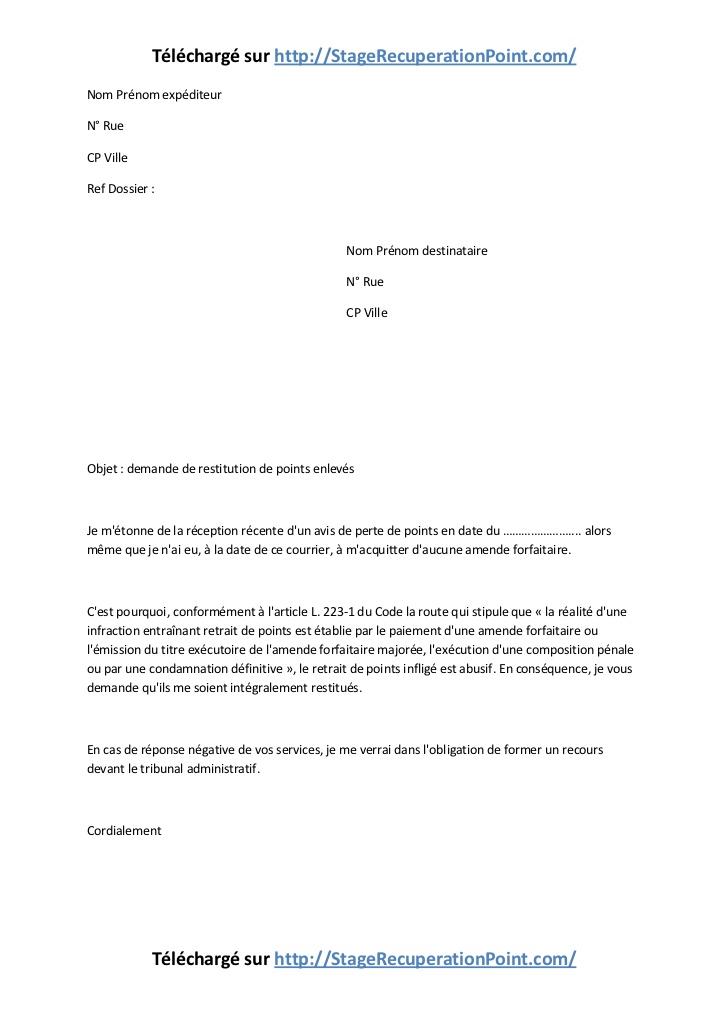 exemple de courrier de contestation amende