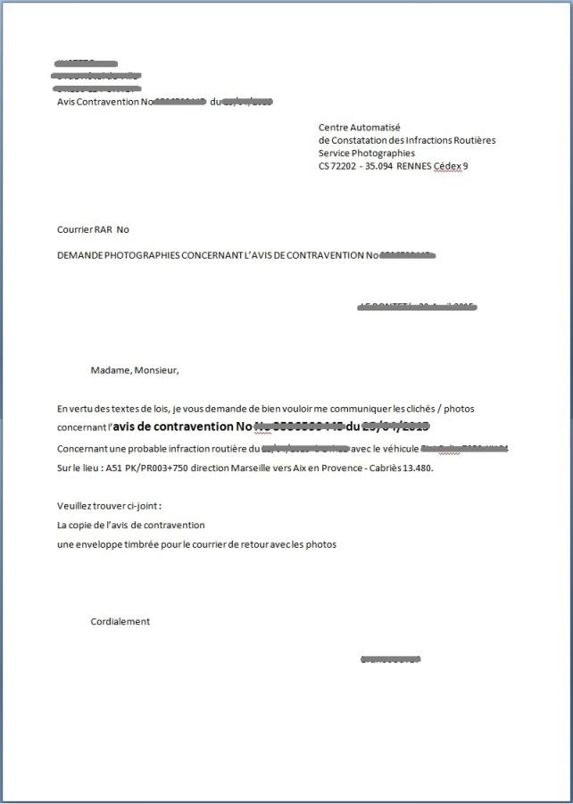exemple de courrier de contestation de contravention