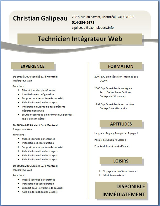 exemple de cv gratuit a telecharger word