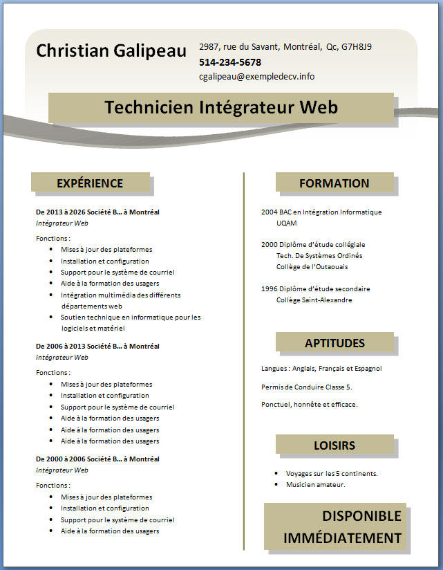 exemple de cv word gratuit