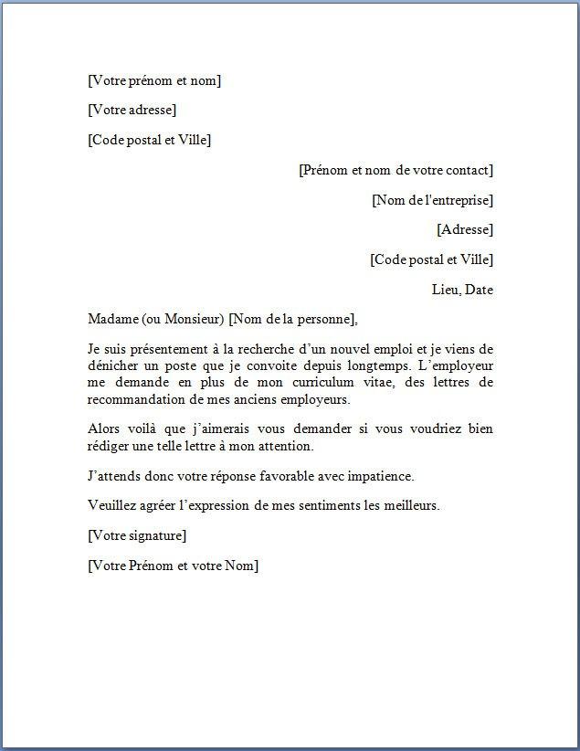 exemple de demande d'emploi en francais