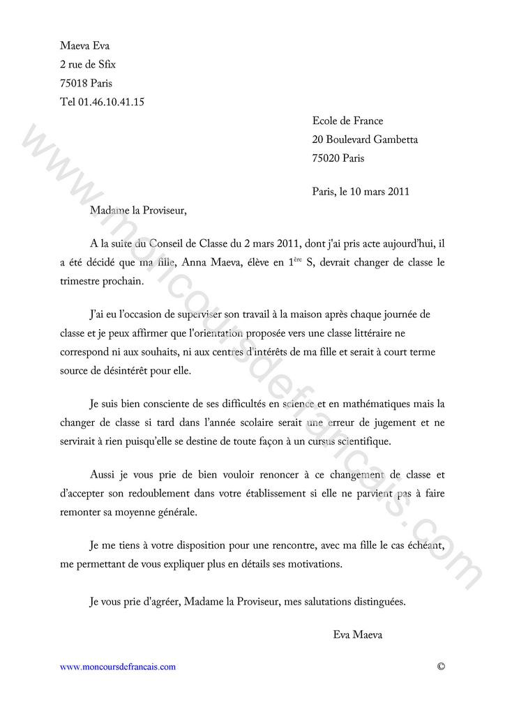 exemple de la lettre de reclamation