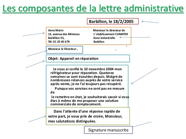 exemple de lettre administrative