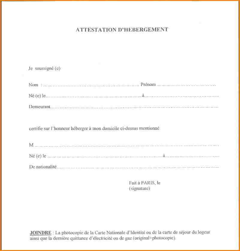 exemple de lettre d'attestation d'hebergement a titre gratuit