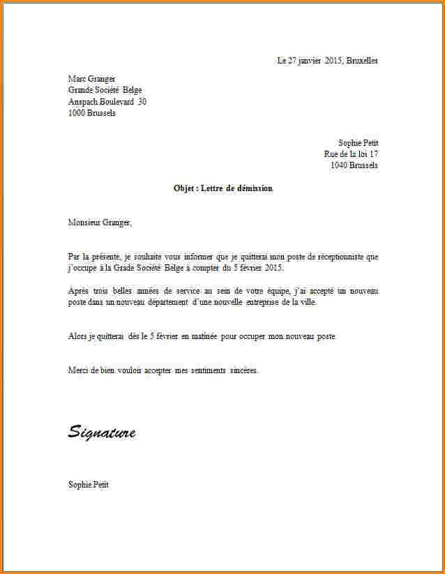 exemple de lettre de demission pendant la periode d'essai ...