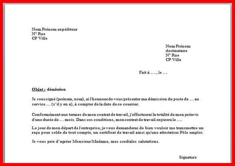 exemple de lettre de demission pour suivi de conjoint ...