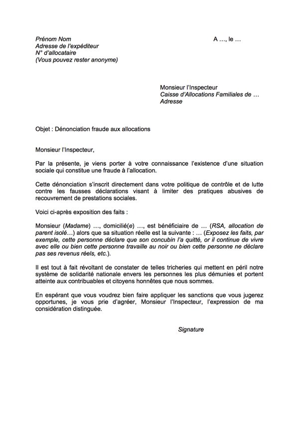 exemple de lettre de denonciation
