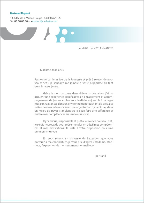exemple de lettre de motivation pour cv