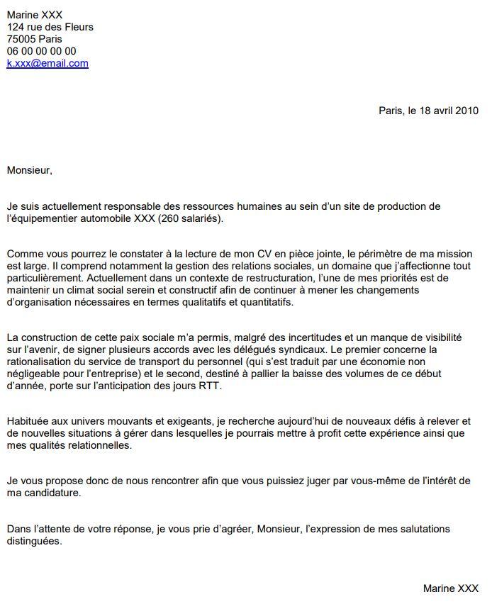 exemple de lettre de motivation pour trouver un emploi