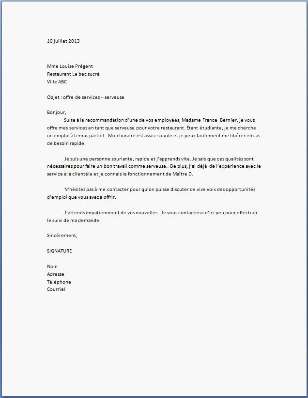 exemple de lettre de motivation restauration gratuit ...