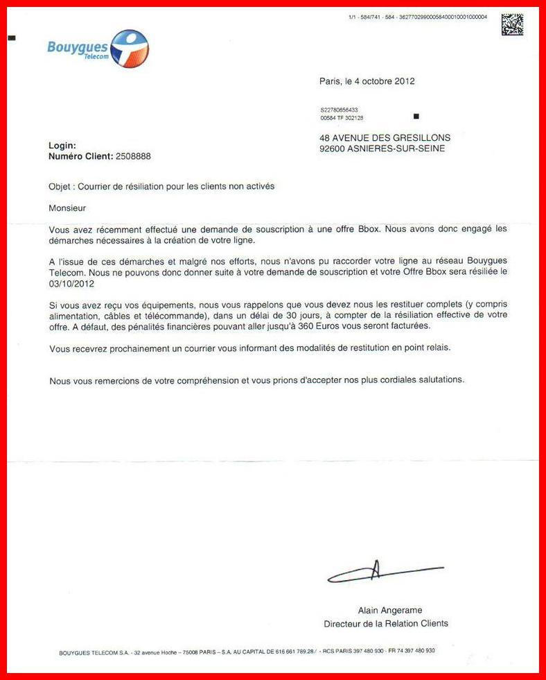 exemple de lettre de resiliation bouygues bbox