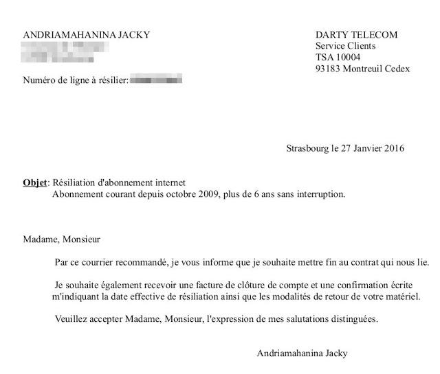 exemple de lettre de resiliation de contrat d'abonnement internet - Modele de lettre type