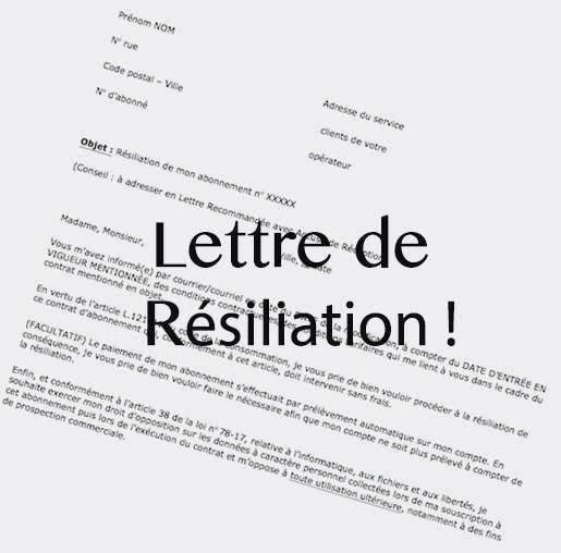 exemple de lettre de resiliation de contrat d'abonnement internet