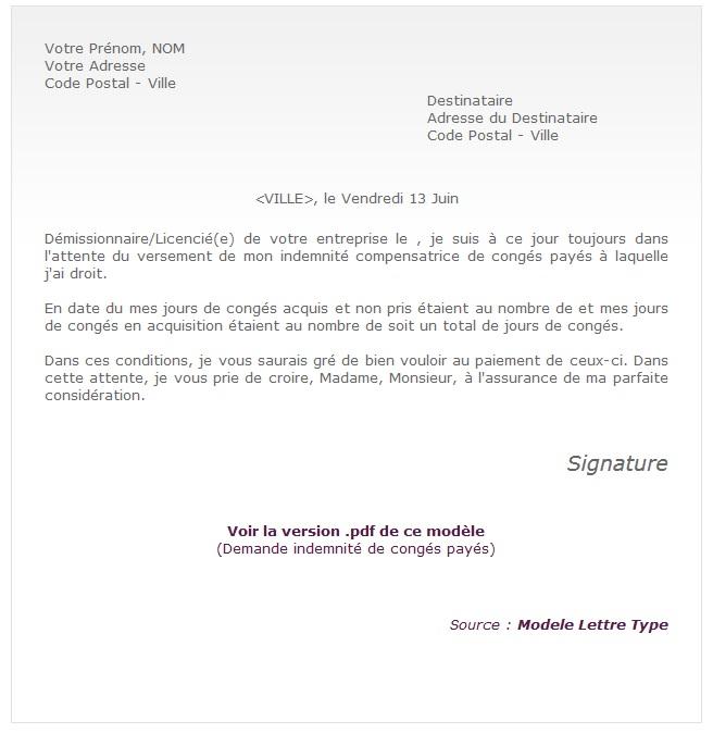 exemple de lettre pour conge paye