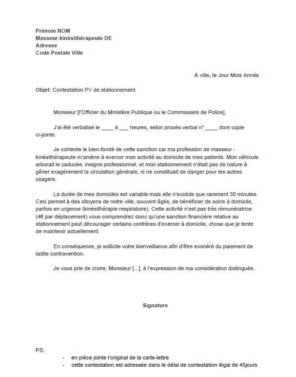 exemple de lettre pour contester un pv