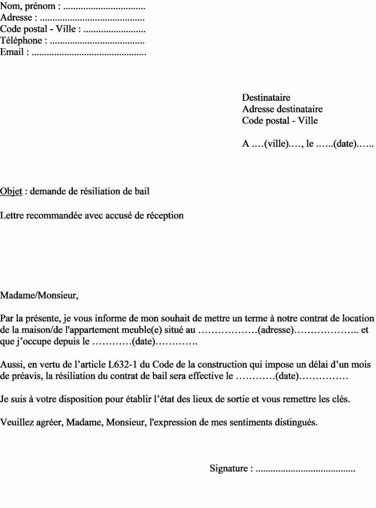 exemple de lettre rupture de bail - Modele de lettre type