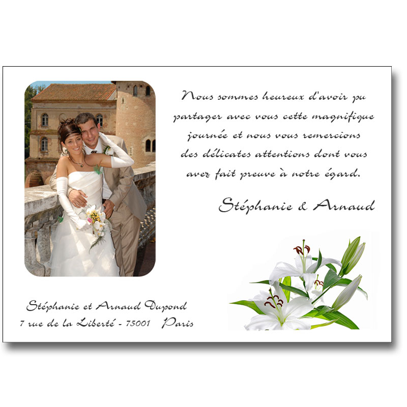exemple de remerciement de mariage