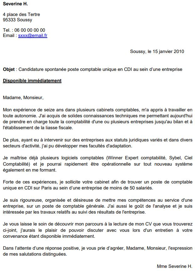 exemple lettre candidature spontanee