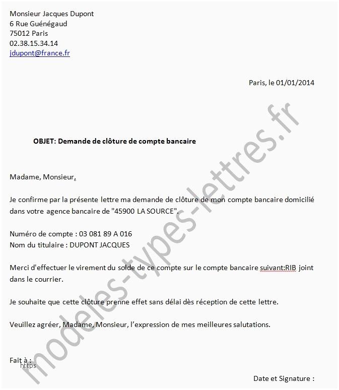 Exemple Lettre Cloture Compte Bancaire Modele De Lettre Type
