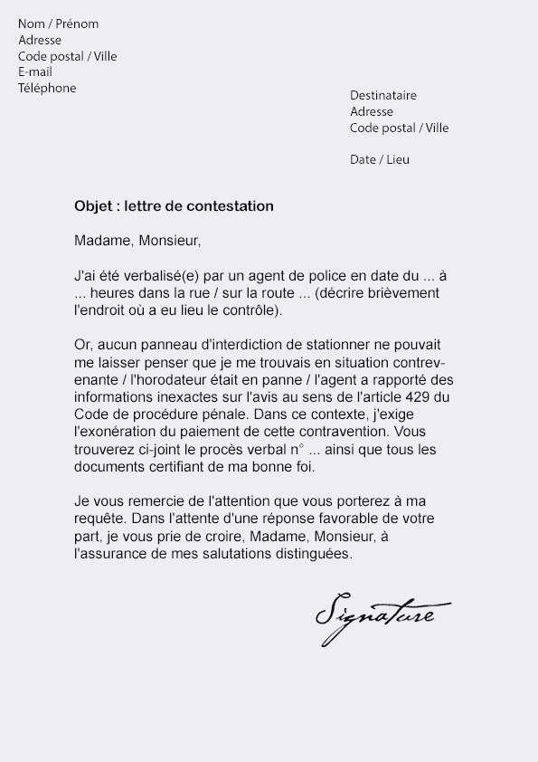 exemple lettre contestation amende
