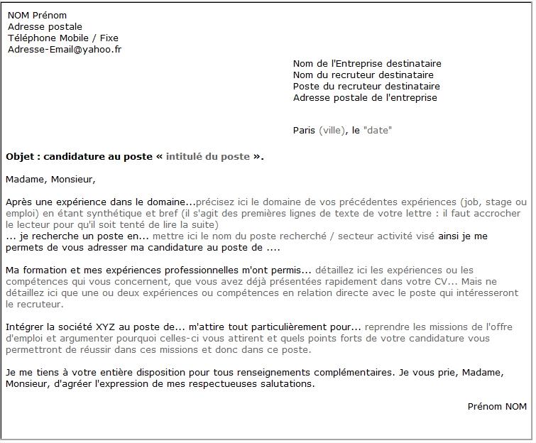 exemple lettre cv