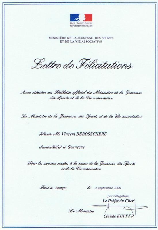 exemple lettre de felicitation
