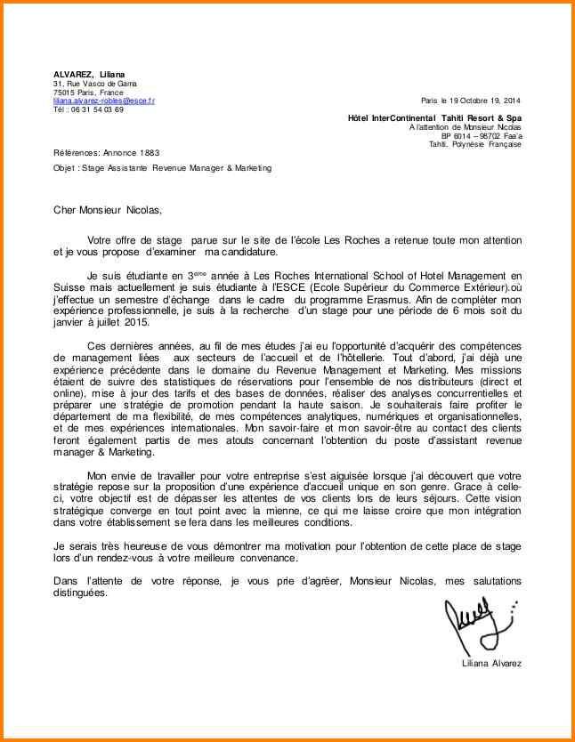 exemple lettre de motivation hotellerie restauration ...