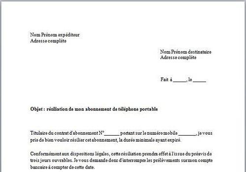 Exemple Lettre De Resiliation De Contrat De Travail Modele De