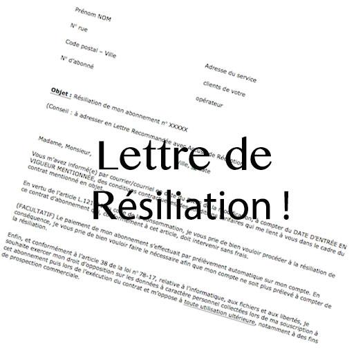 exemple lettre de resiliation de contrat de travail