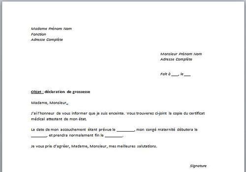Exemple Lettre Declaration Grossesse Employeur Modele De Lettre Type